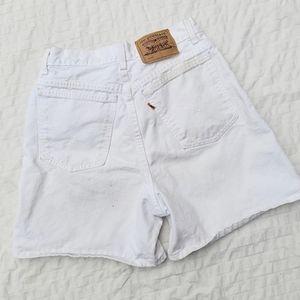 Vintage Orange Tag Levis White 920 Shorts
